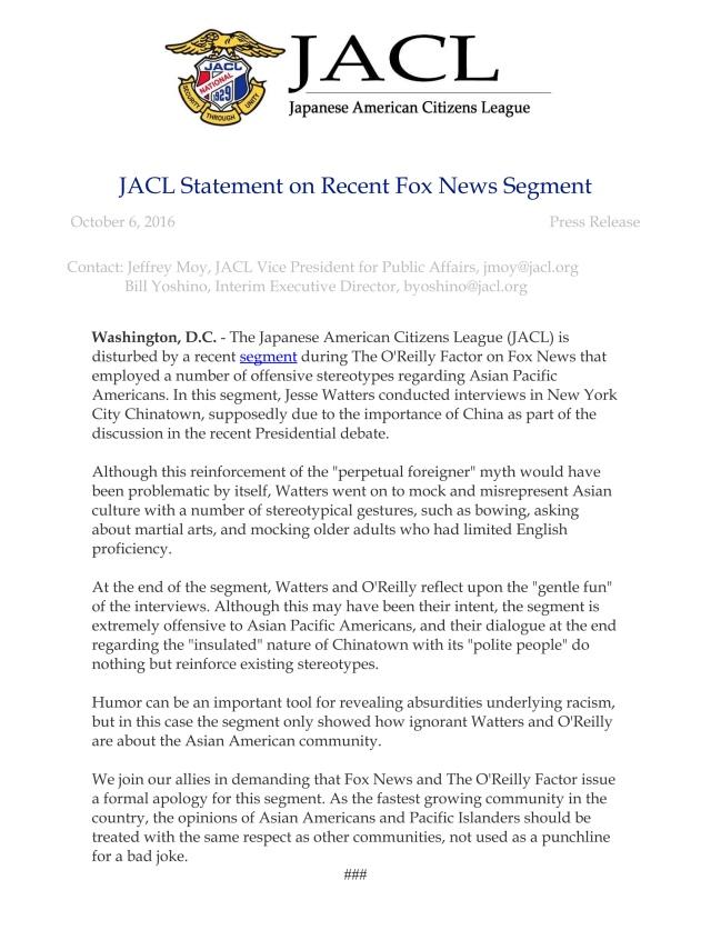 JACL Statement on Recent Fox News Segment