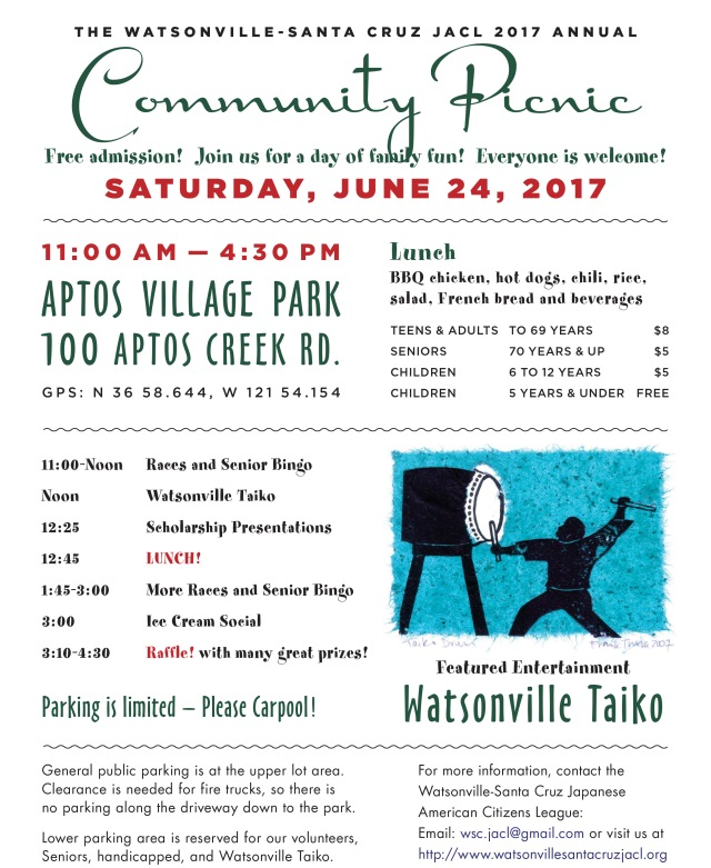 JACL community picnic flyer by Phil Shima